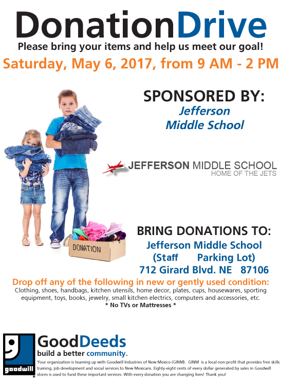 Donation Drive at Jefferson - Saturday, May 6th 9am-2pm